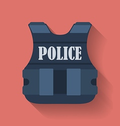 Icon of police flak jacket or bulletproof vest vector