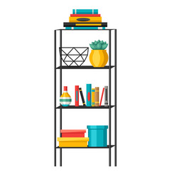 Interior home decor shelves with books and vases vector