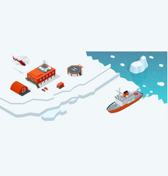 isometric antarctica station or polar station with vector image