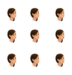 isometric icons of woman emotions 3d head hair vector image
