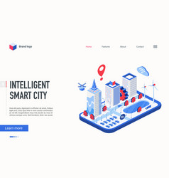 isometric intelligent smart city landing page vector image