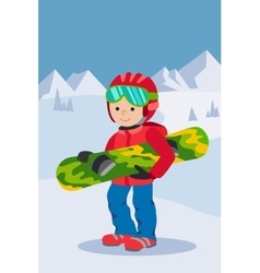 Kid child boy with snowboard winter sport jacket vector image