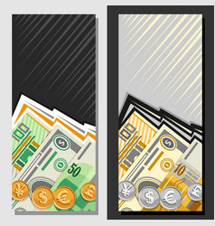 Layouts for currency exchange vector