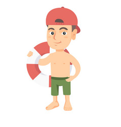 little caucasian boy holding a red-white lifebuoy vector image
