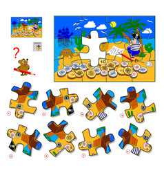 Logic puzzle game for children and adults find vector