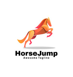 logo horse jump gradient colorful style vector image