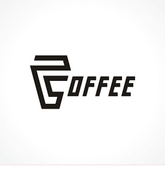 logo with cup and text coffee vector image