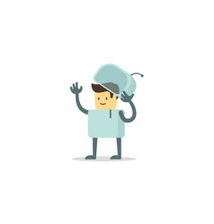 Man human spacesuit character luck cute spaceman vector