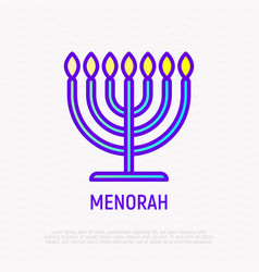 menorah thin line icon modern vector image