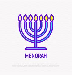 Menorah thin line icon modern vector
