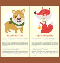 Merry christmas banner congratulation from dog fox vector