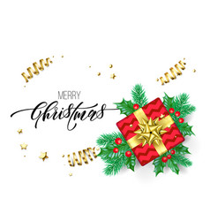 merry christmas hand drawn quote calligraphy vector image