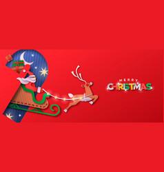 merry christmas papercut santa claus sled banner vector image