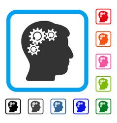Mind gear rotation framed icon vector