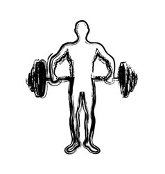 Monochrome sketch of man weightlifting vector