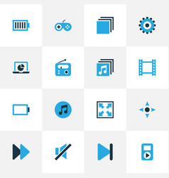 Multimedia colorful icons set collection of full vector