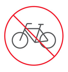 no bicycle thin line icon prohibition forbidden vector image