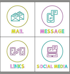 online communication bright round linear icons set vector image