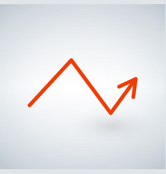 orange growing arrow chartisolated on modern vector image