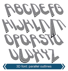 Outlined rotated font monochrome lined letters set vector image