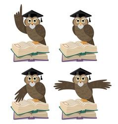 owl with books vector image vector image