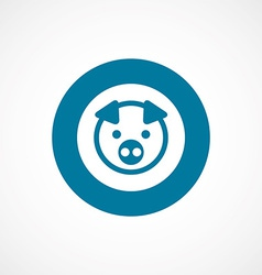 Pig bold blue border circle icon vector