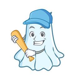 playing baseball cute ghost character cartoon vector image