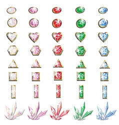 Precious stones and crystals set vector