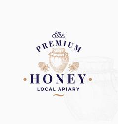 premium quality honey sign symbol or logo vector image