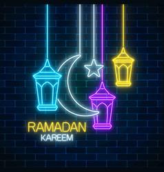 Ramadan greeting card with fanus lanterns star vector