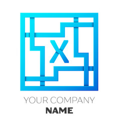 Realistic letter x logo in colorful square maze vector
