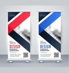 rollup banner presentation template set vector image