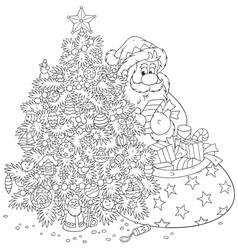 Santa Claus and Christmas tree vector