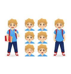 school boy emotions vector image