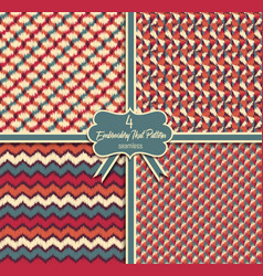 seamless ikat textured embroidery background vector image