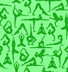 Seamless pattern of yoga poses vector