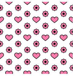 seamless pattern pink hearts and flowers vector image
