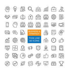 Set business strategy icons vector