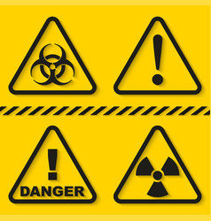 set danger signs isolated on yellow background vector image