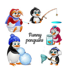 set funny animated penguins isolated on white vector image