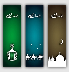 Set islamic banners with symbols Ramadan holiday vector