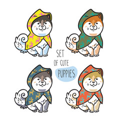 Set of cute siberian husky puppies in colorful vector