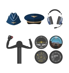 Set of icons of aviation in a flat style vector