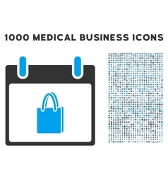 Shopping Bag Calendar Day Icon With 1000 Medical vector image vector image