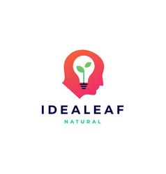 smart human head think bulb leaf idea logo icon vector image