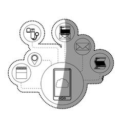 Smartphone and cloud computing design vector