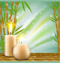 Spa background with bamboo and aroma candles vector