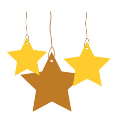 Stars set pendant of threads colorful silhouette vector