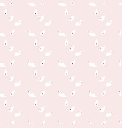 Swan seamless pattern on pink background vector