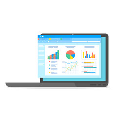 Table software computer screen with financial vector
